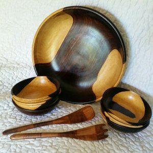 Vintage 2 Tone Brown Wooden Boho Salad Bowl Set